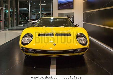 Bologna Airport, Italy - June 16, 2014: Yellow Two-seat Lamborghini Miura Sv Car On Exhibition In Bo