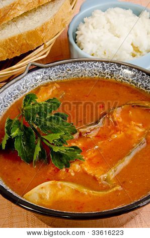 Hungarian Fish Soup With Bread And Rice