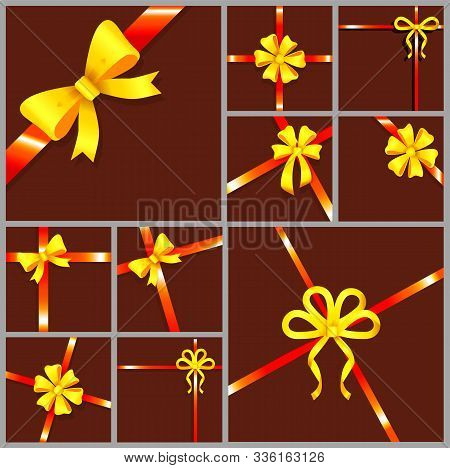 Decoration For Gifts Or Presents, Yellow And Red Ribbon Bows. Silk Tape Of Different Shapes, Set Of