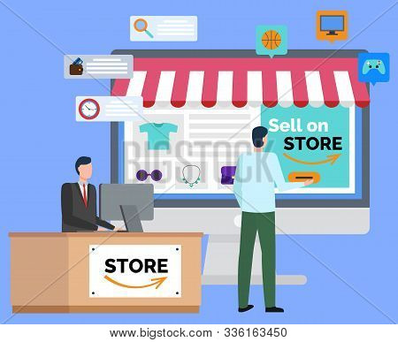 People Selling Stuff Online Vector, Marketplace For Wholesale Flat Style Character. Man With Compute