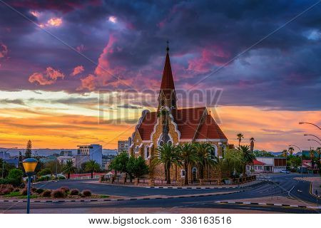 Dramatic Sunset Above Christchurch, A Historic Landmark And Lutheran Church In Windhoek, Capital Cit