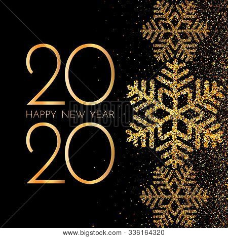 2020 Happy New Year. Golden Numbers, Glitter And Snowflakes On Dark Background. New Year 2020 Greeti