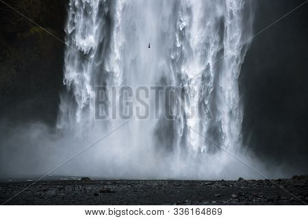Closeup Of The Famous Skogafoss Waterfall In Iceland. This Waterfall Is Situated On The Skoga River
