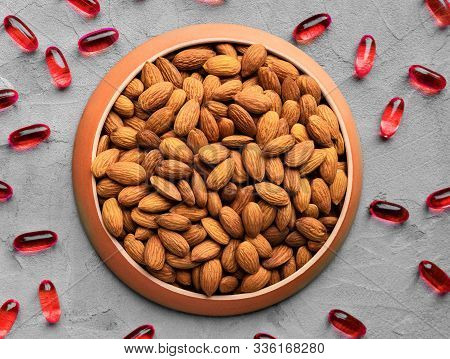 Organic Food And Chemical Medicines, Biologically Active Food Supplement, Almonds And Chemical Vitam