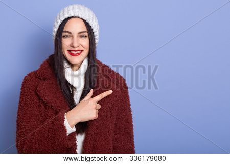 Smilng Young Brunette Woman With Long Dark Hair And Red Pomade,female Dresses Faux Fur Coat And Whit