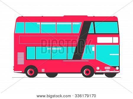 Double Decker. Simplified Double Decker Bus. Side View. Flat Vector.
