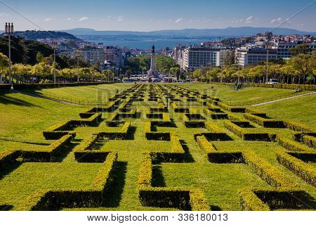 Lisbon, Portugal - May, 2018: The Eduardo Vii Park In A Beautiful Early Spring Day At The City Of Li