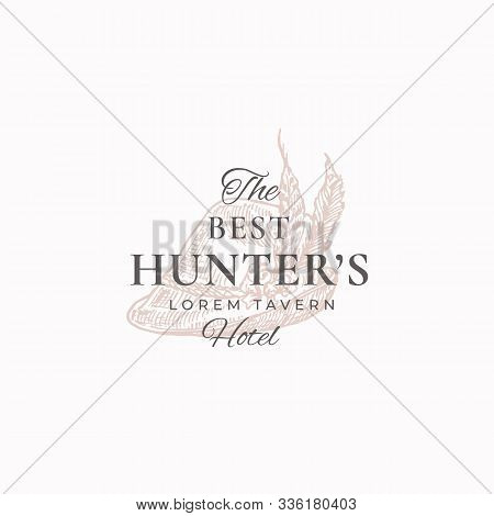 Best Hunter Tavern Abstract Vector Sign, Symbol Or Logo Template. Elegant Tyrolean Hat With Feathers