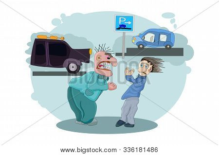 Anger Concept. Angry Driver Shouting On Owner Other Automobile. Man Screaming Loudly. Emotional Driv