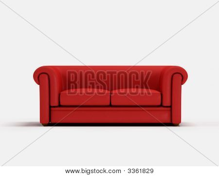 Red classic sofa on white background -digital artwork poster