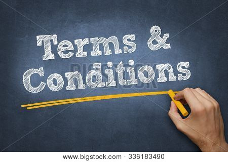 Hand Writing Chalk Text On Blackboard - Terms And Conditions