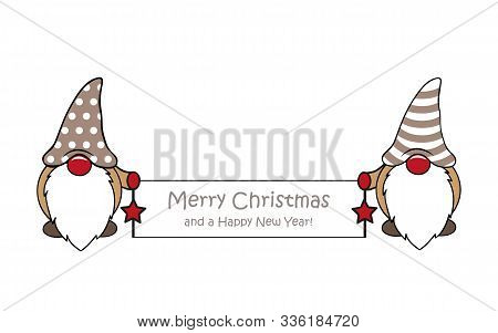 Cute Dwarf With Merry Christmas Greeting Card Vector Illustration Eps10