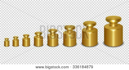 Vector 3d Realistic Metal Golden Calibration Laboratory Weight Different Sizes Icon Set Closeup Isol