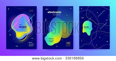 Purple Music Party. Gradient Sound. Techno Festival. Colorful Abstract Template. Vivid Music Poster.