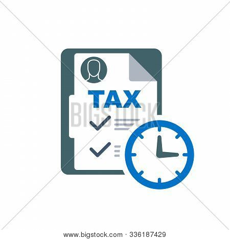 Time To Pay Tax - Accounting Reminder Icon With Checklist And Clock, Taxes Payment Logo