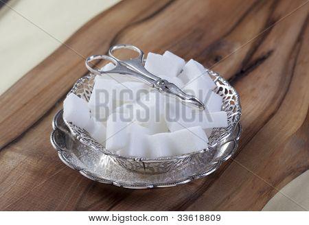Sugar Cubes In Silver  Bowl