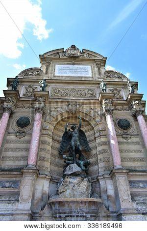 Fontaine Saint Michel At The Latin Quarter. Paris, France.