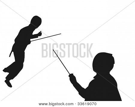 Fencing Opponents Silhouette