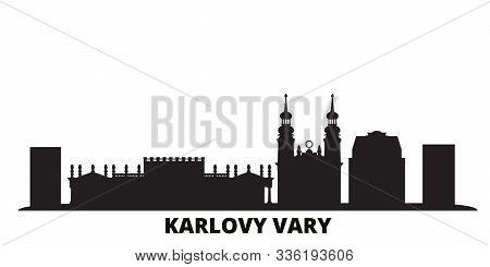 Czech Republic, Karlovy Vary City Skyline Isolated Vector Illustration. Czech Republic, Karlovy Vary