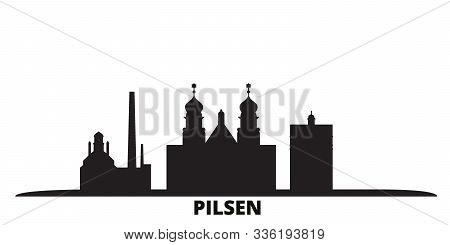 Czech Republic, Pilsen City Skyline Isolated Vector Illustration. Czech Republic, Pilsen Travel Blac