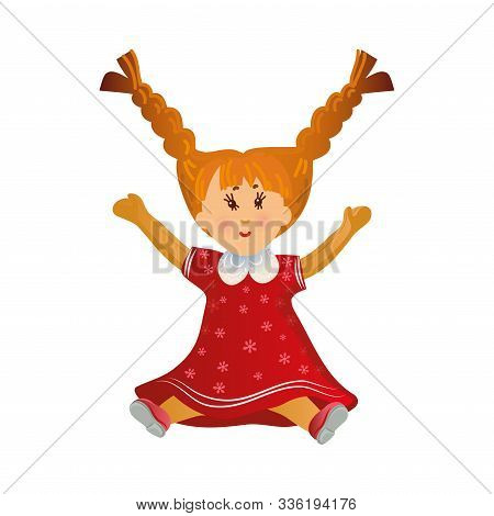 Cute Happy Smiling Blonde Girl Doll With Two Long Braids In The Red Dress. Vector Illustration In Fl