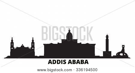 Ethiopia, Addis Ababa City Skyline Isolated Vector Illustration. Ethiopia, Addis Ababa Travel Black
