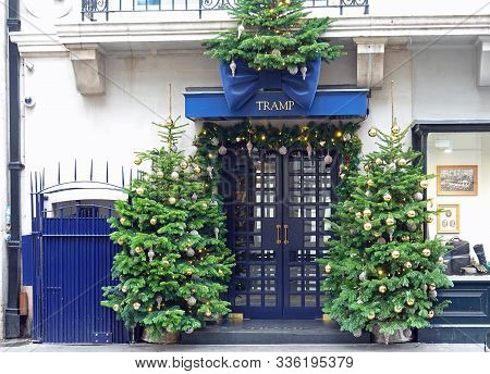 Tramp Nightclub, Mayfair, London, 2019.  A Famous Exclusive Members Only Club Surrounded By Festive