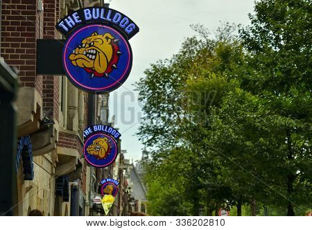 Amsterdam, Holland. August 2019. In The Red Light District The Bulldog Is The Most Famous Coffeeshop