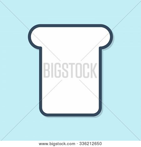 Blue Line Bread Toast For Sandwich Piece Of Roasted Crouton Icon Isolated On Blue Background. Lunch,