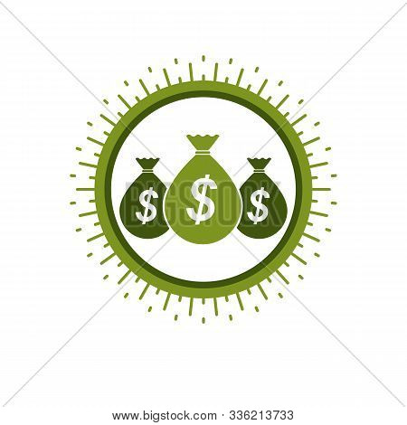 Moneybags With Dollar Signs, Vector Icon. Investment, Savings, Wealth.