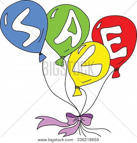 Cartoon Colorful Balloons Having Letters Of Sale Word On Each Vector Illustration