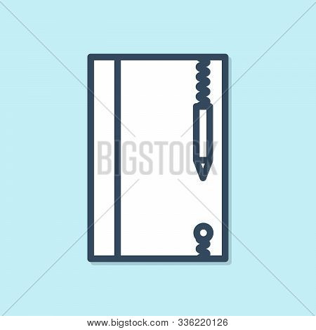 Blue Line Underwater Note Book And Pencil For Snorkeling Icon Isolated On Blue Background. Water Wri