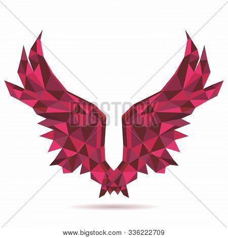 Vector Polygon Geometric Red Angel Wings Design