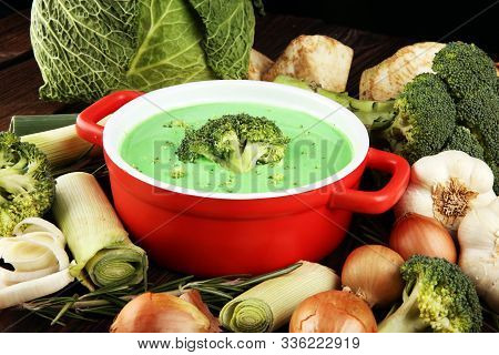 Broccoli Soup With Fresh Broccoli For Dinner. Fresh Vegetarian Food Concept