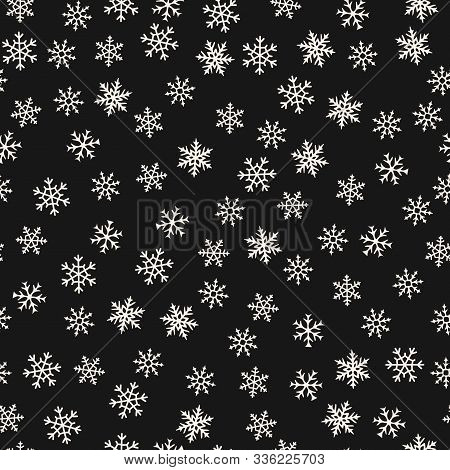 Vector Snowflakes Pattern. Winter Christmas Decorative Seamless Background With Small Scattered Snow