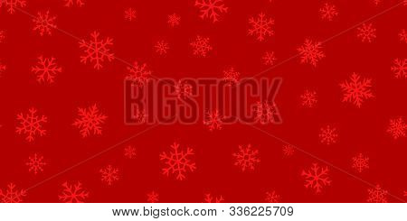 Vector Snowflakes Background. Simple Red Christmas And New Year Seamless Pattern With Snow, Differen