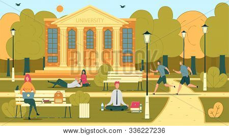 University Or College Students In Campus Scene With People Cartoon Characters Studying, Relaxing And