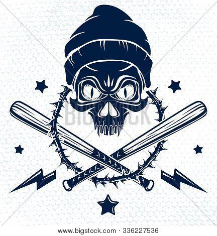 Brutal Gangster Emblem Or Logo With Aggressive Skull Baseball Bats And Other Weapons And Design Elem
