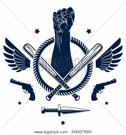 Anarchy And Chaos Aggressive Emblem Or Logo With Strong Clenched Fist, Weapons And Different Design