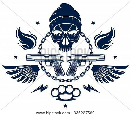 Revolution And Riot Wicked Emblem Or Logo With Aggressive Skull, Weapons And Different Design Elemen
