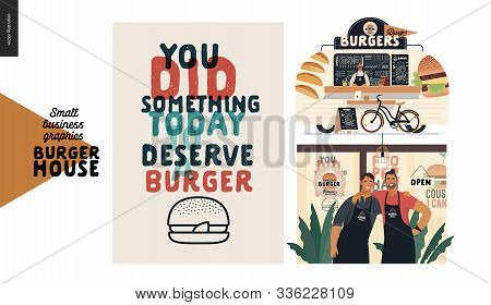 Burger House -small Business Graphics - Set -modern Flat Vector Concept Illustrations -two Young Men