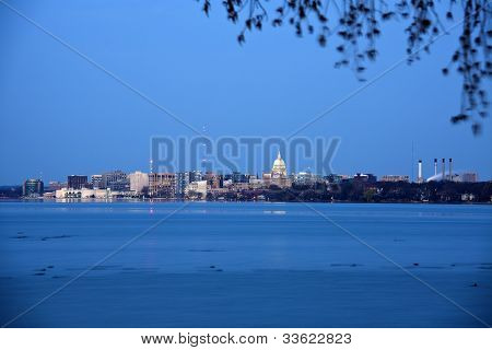 Madison Downtown Seen Accros Lake Monona