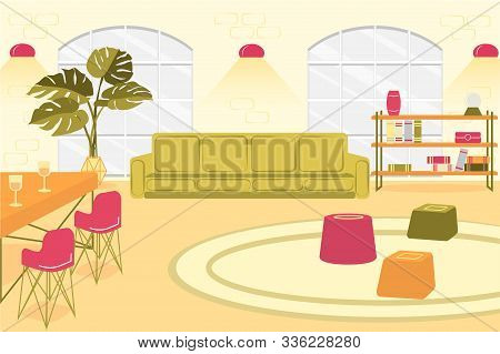 Bright Illustration Spacious Living Room, Slide. Between Large Windows By Wall There Is Sofa, Wall S
