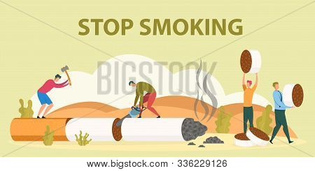 Stop Smoking, Healthy Lifestyle Start, Unhealthy Habit Quit, Lungs Diseases Prevention Flat Vector C