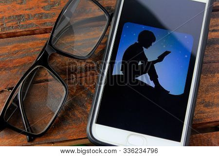 Rio De Janeiro, Brazil - November 25, 2019: Kindle Logo On The Mobile Phone Screen. Is A Digital Boo