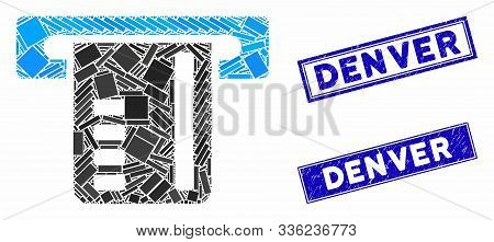 Mosaic Ticket Terminal Pictogram And Rectangular Denver Rubber Prints. Flat Vector Ticket Terminal M