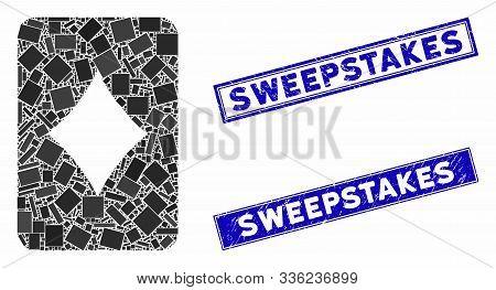 Mosaic Diamonds Gambling Card Icon And Rectangle Sweepstakes Seal Stamps. Flat Vector Diamonds Gambl