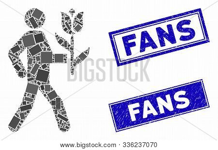 Mosaic Lover With Flower Icon And Rectangular Fans Seal Stamps. Flat Vector Lover With Flower Mosaic
