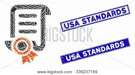 Mosaic Certified Scroll Document Pictogram And Rectangular Usa Standards Stamps. Flat Vector Certifi