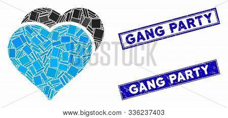 Mosaic Love Hearts Pictogram And Rectangular Gang Party Seals. Flat Vector Love Hearts Mosaic Pictog